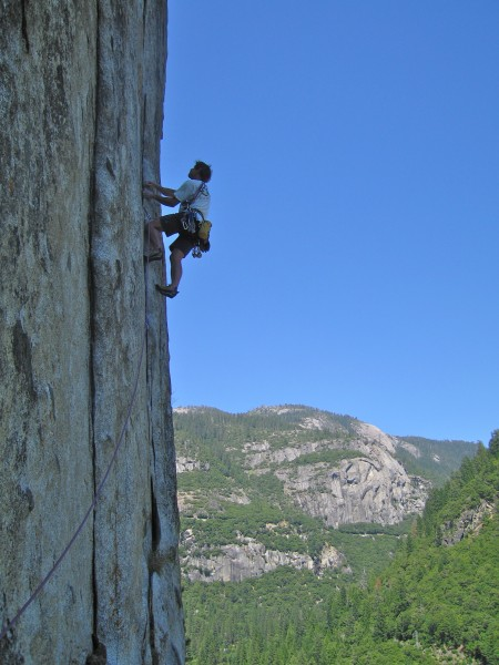 Peter Croft approaching the crux on Wheat Thin