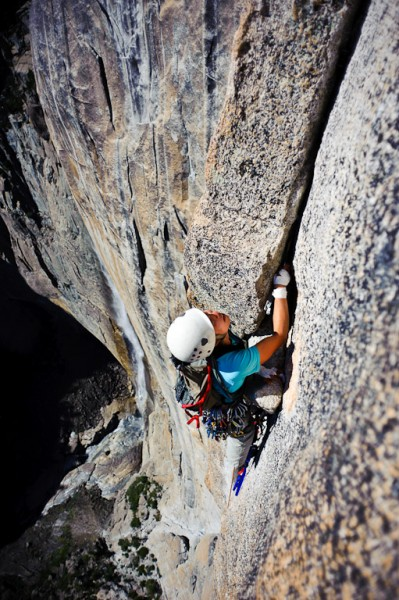 Enmore Lin on the exposed last pitch of Lost Arrow Spire tip.