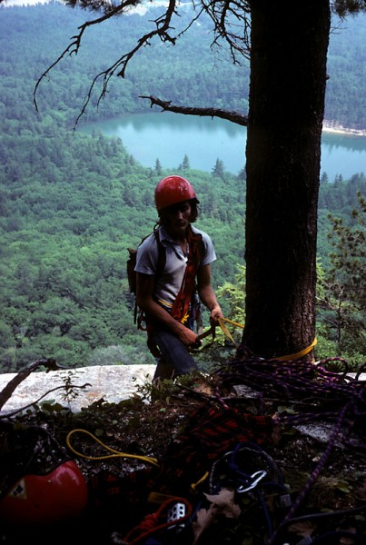 My friend Tom Tucker at the top of Whitehorse Ledge, mid-1970s
