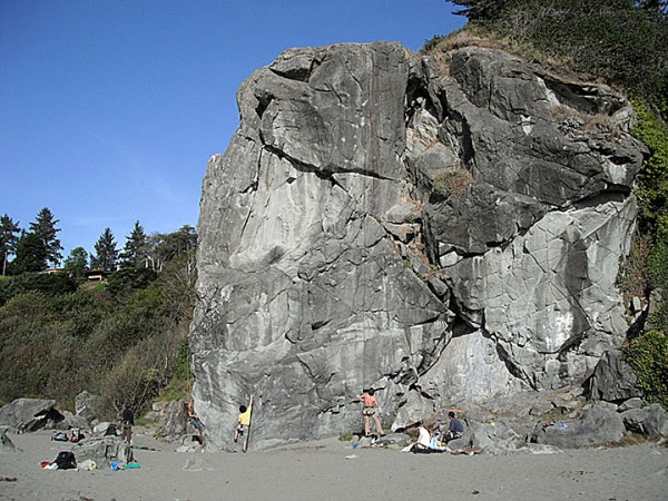 Karen Rock at Moonstone Beach. Trinidad, CA. Many days Paul came to cl...