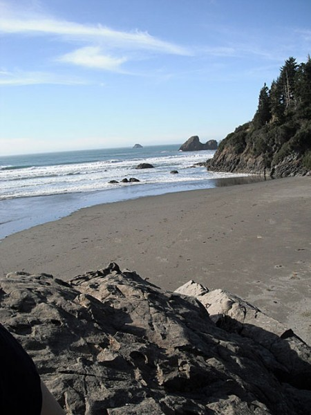 An awesome view from Karen Rock at Moonstone Beach.