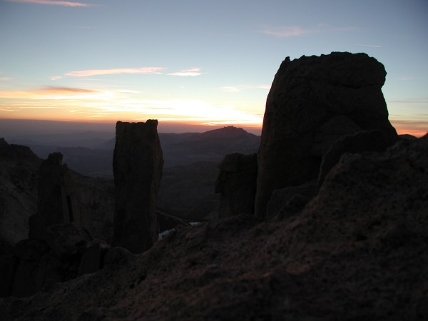 The summit blocks at sunset.