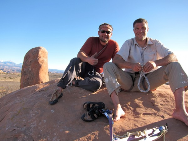 Tom and Stoney on Tonka Tower, Arches NP.