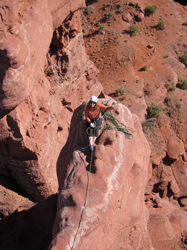 Lisa belaying me on the summit pitch from the Sidewalk on Ancient Art.