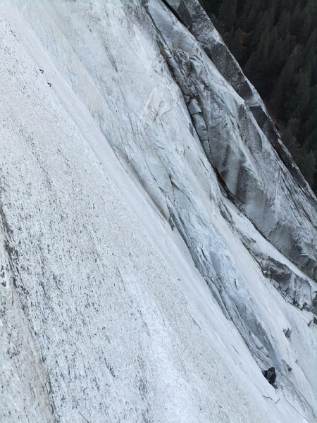 Doubled crux protection bolts on &quot;The Unfinished Ninth&quot;. <br/> Chris visib...