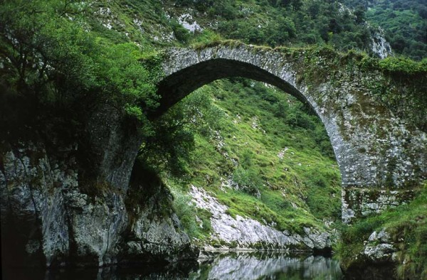 2,000 years old. Still in use. Roman bridge, northern Spain