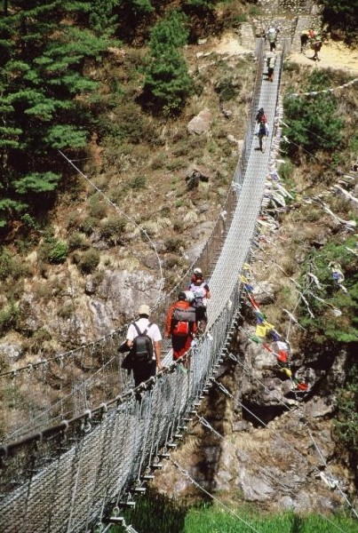 Bridge over the Dudh Khosi on the way towards Mount Everest.