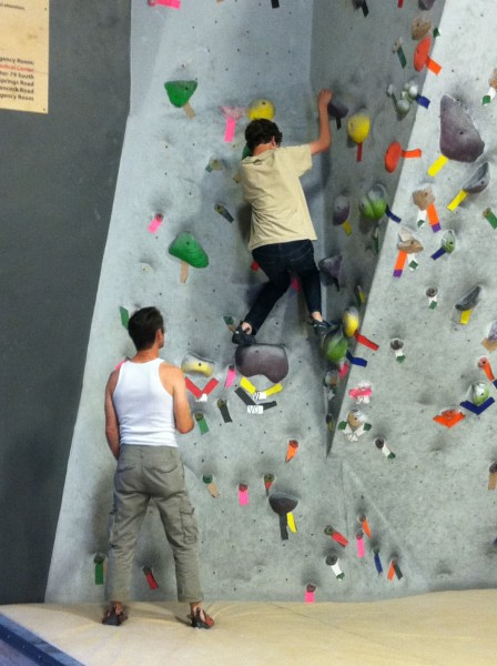Bought Carl some climbing shoes at the gym and tried an easy VB-.  Sna...