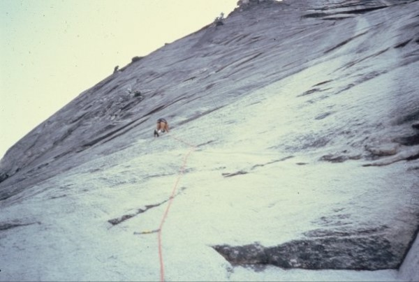 """Cory Dudley leading the 6th """"Steel Wall"""" pitch (5.11a) of the ..."""