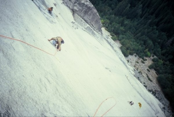 "Looking down the ""Glass Menagerie"" (5.12a) with another party below on..."