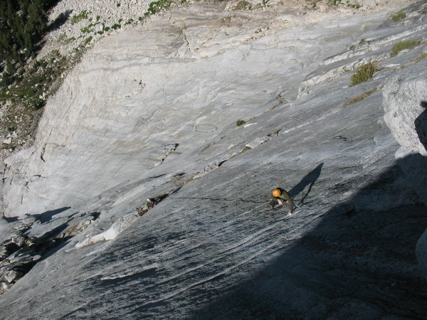 Corey Flynn headed up to the crux roof of Captain Fairview on the seco...