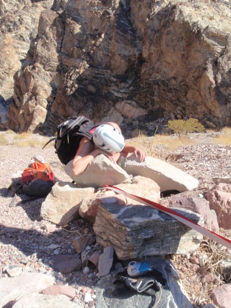 "Johanne demonstrating the ""Deadwoman"" anchor in Bad Canyon"