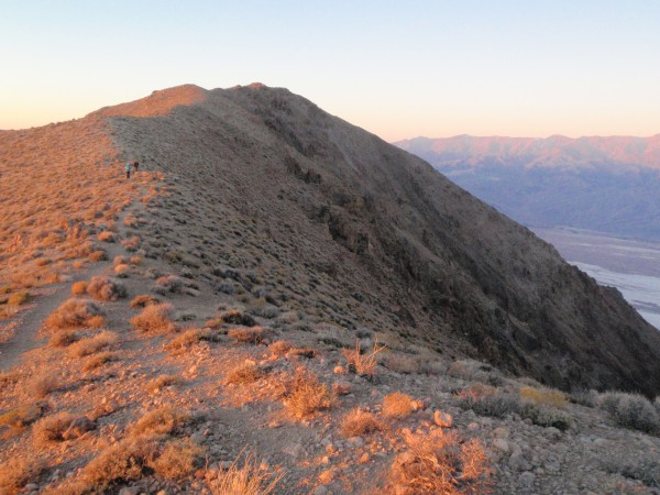 Walking north from Dante's Peak in the early morning on the way to the...