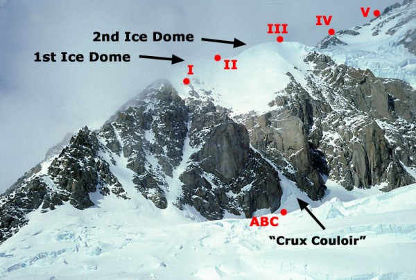 Start of West Rib. II = Apex Camp. III = Top of snow dome. V = 17,000 ...