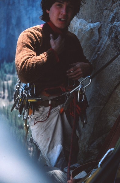 Mark Hudon on El Cap Tower, Right Side, April 1976