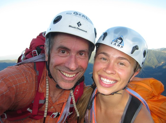 Daughter Caitlin and I on Cosmic Wall summit, Castle Crags.