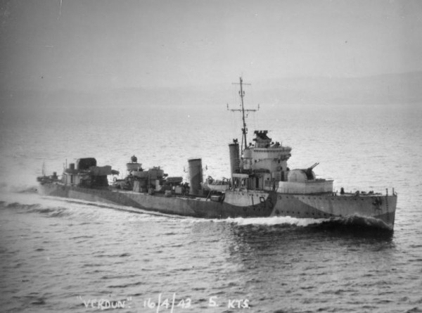 Destroyer HMS Verdun.
