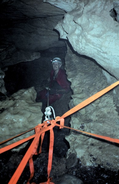 Rap anchor for the waterfall dome, Left Tit Pit Cave, West Virginia