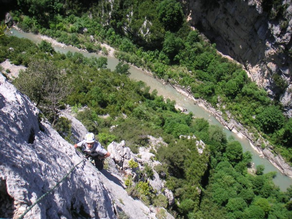 Climbing in the Verdon Gorge.