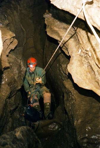 Descending 500 feet underground Hang 'Em High Cave, Tennessee
