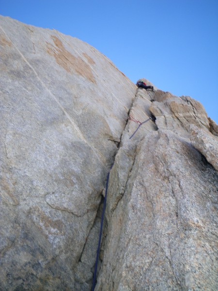 Leading my first 5.10 ever (var. on N. arete of BCS)