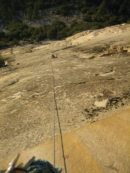 """Looking down from the top anchor on """"Ocean King"""" Kings Canyon NP"""