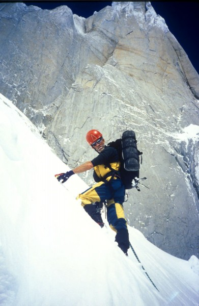 Donini on Cerro Torre in January, 1996. A promising beginning to an im...