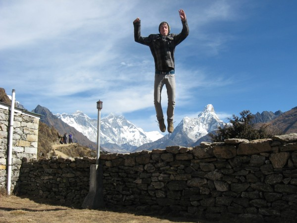 Take teenagers to Nepal - and this is what you get. Goofing off at Ten...