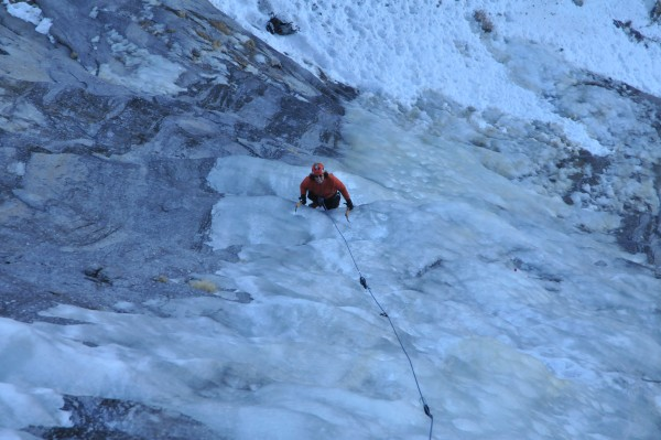 Climbing the first pitch on Drug Dome, January 11, 2012.  The ice is g...