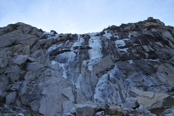 Main Wall in Lee Vining Cyn on January 8, 2012.