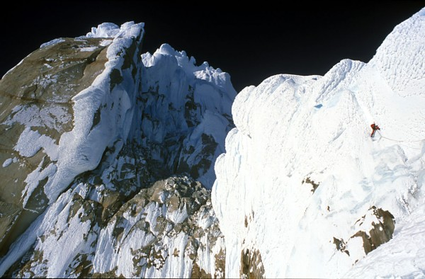 Stephan Siegrist on the Helmet on Cerro Torre's West Face, July 1999.