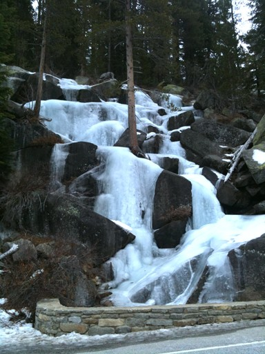 Roadside ice just east of Yosemite Creek