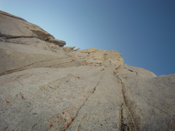 looking up at the North buttress of Merriam peak
