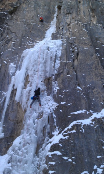 Ed under the crux on 1st pitch of the Ames Ice Hose. (pic courtesy...