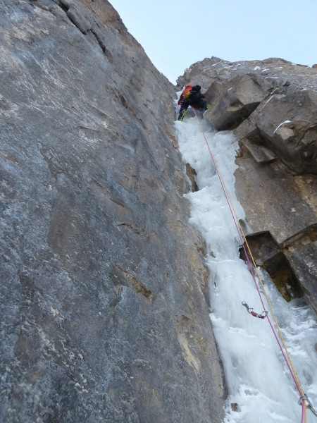 The Ames Ice Hose - just above the crux on the 2nd pitch. Scarpa Frene...