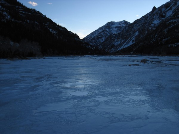 Late afternoon light as I crossed the frozen South Fork of the Shoshon...
