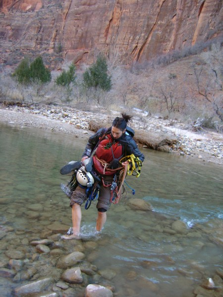 Tara crossing the Virgin River
