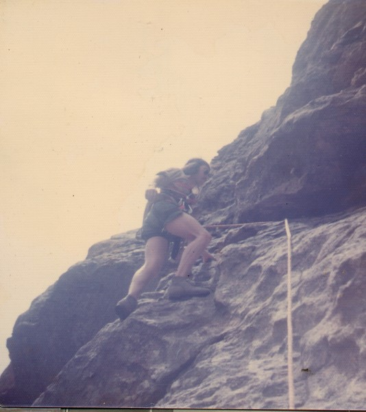 "o-man on ""Pseudo Sidetrack"" in Eldorado Canyon in the very early 70's ..."