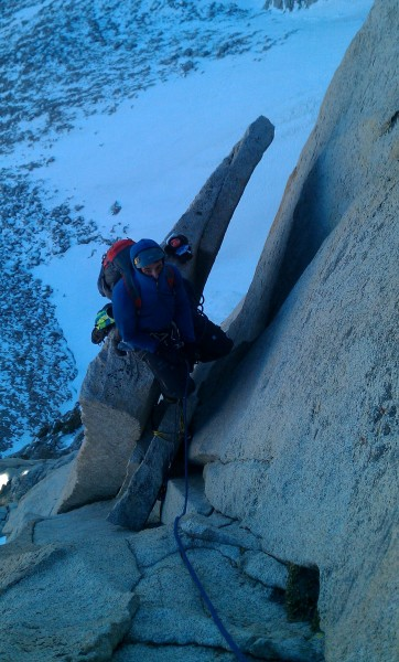 "Cheburashka and I on the ""Spectacular"" belay ledge"