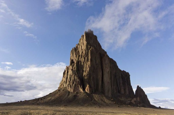 Shiprock, windy, stormy day