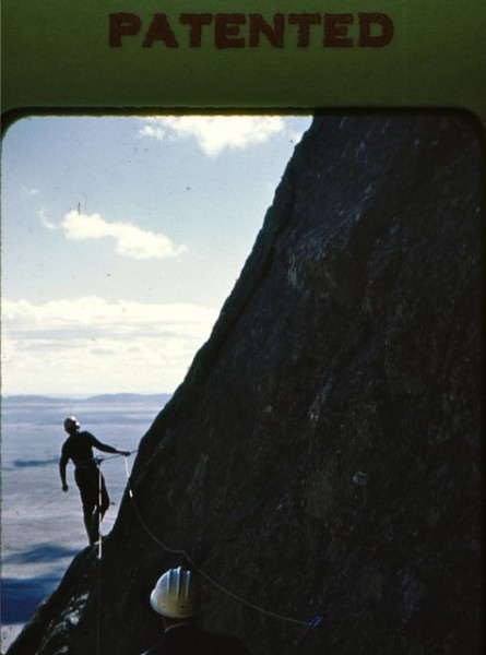 Dave Wood leading the traverse out onto the SW side of the mountain. I...