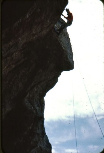 Yours Truly rappelling off the summit.  The sun set soon afterwards.