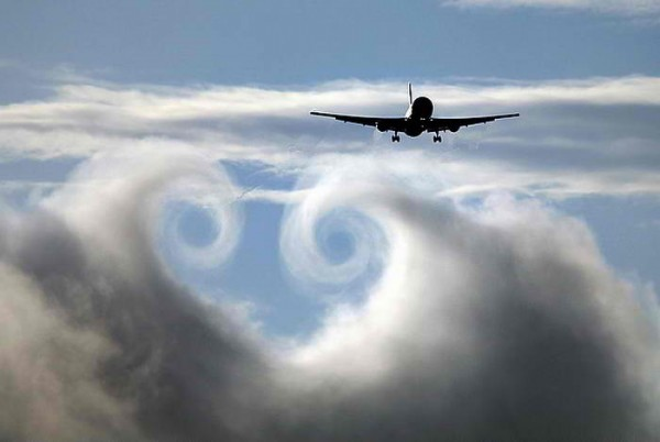 wing vortex in clouds