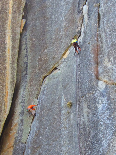 David and Tom on blotto 5.10c, after just doing the chimney to the lef...
