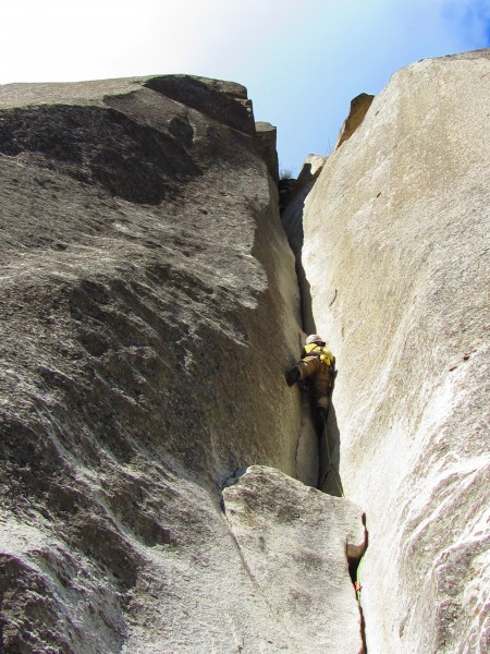Jeff on midterm 5.10b, fingers to chimney pitch
