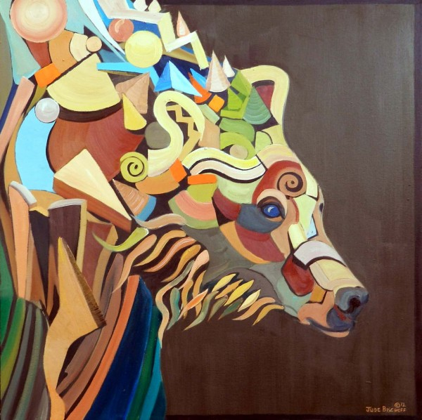 """Modern Bear I""  Oil on Canvas  36""x36"""