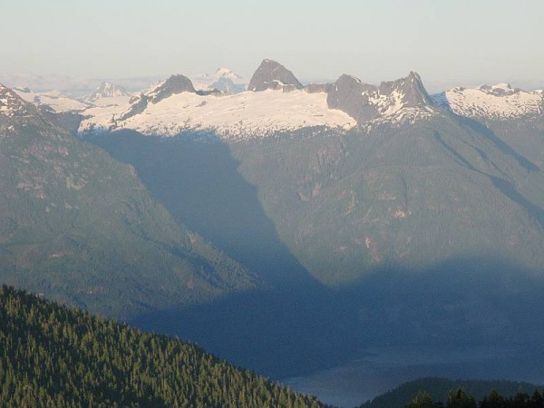 Mt Denman from our camp on Mt Hayes, July 27, 2010. NW buttress on lef...