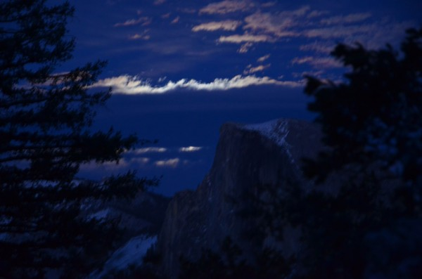 Moonrise and Half Dome, moon behind cloud