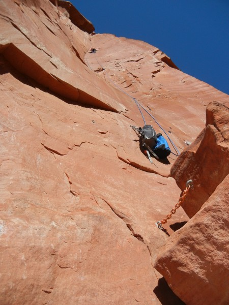 Solo on the Dihedral Pitch and Rocker Block, Moonlight Buttress
