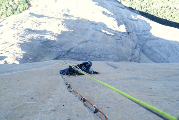 "R Leversee belaying from one of his self styled ""Cocoons"". Truly a min..."